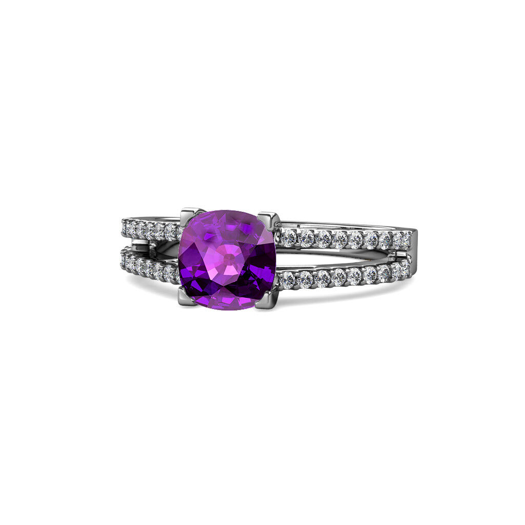 Amethyst & Diamond Solitaire Plus Ring 2.61 Carat tw in 14K White gold JP 109319