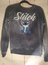 Womens GRAY Sweatshirt STITCH Disney Lilo /& Stitch SUPER SOFT FLEECE Crew M 8-10
