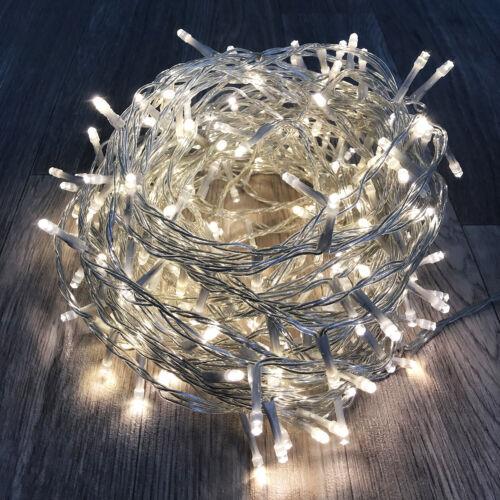 LED-96er Lichterkette warmweiß innen /& außen mit Trafo Kabel transparent