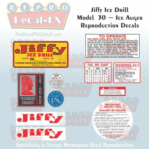 Jiffy Ice Drill Auger Model 30 Reproduction Decal Set 11 Piece Vinyl Stickers