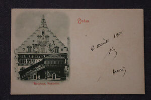 Tarjeta-Postal-Antigua-Alemania-Lindau-Rathhaus-Nordseite