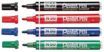 Pentel N50S fine Marqueur permanent Pack de 6-Bleu 3.18 mm Bullet Tip