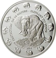 2014 Benin Elephant Protection de la Nature .999 Silver Proof-Like Bullion Coin