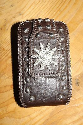 Western Style Dark Brown SILVER SPUR Cell Phone Case ~Clips ON Belt