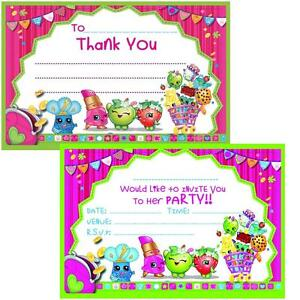 Image Is Loading SHOPKINS BIRTHDAY PARTY INVITES Amp THANKS YOU NOTES