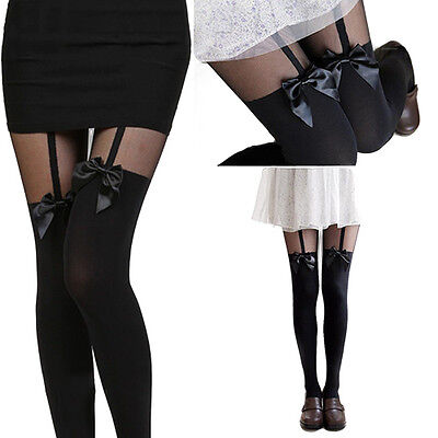 New Women Girls Sexy Stockings Pantyhose Tattoo Mock Bow Suspender Sheer Tights