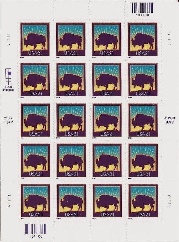 2001 21c Bison, SA, Sheet of 20 Scott 3468 Mint F/VF NH