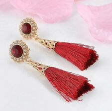 RED TASSEL BOHEMIAN STYLE, CRYSTAL, PEARL DANGLE EARRINGS