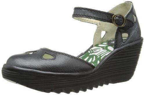 FLY LONDON Yuna Noir Pour Femme En Cuir Compensées Sandales Chaussures