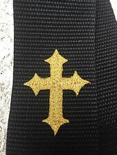 GOLD Gothic CHRISTIAN CROSS Black Nylon Guitar or Bass or Acoustic Strap