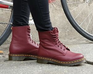 Details about Dr Martens 1460 Pascal Virginia Red 13512411 Cherry Red Real Leather 8 hole lace ups show original title