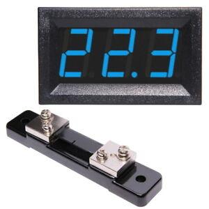 50A-Amperemeter-LED-incl-Shunt-Rot-Blau-Grun-Einbau-Strommessgerat-Digital-Amp