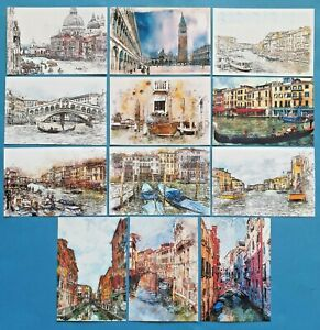 Set-of-12-NEW-Venice-Postcards-Abstract-art-Canal-Gondola-Italy-94N