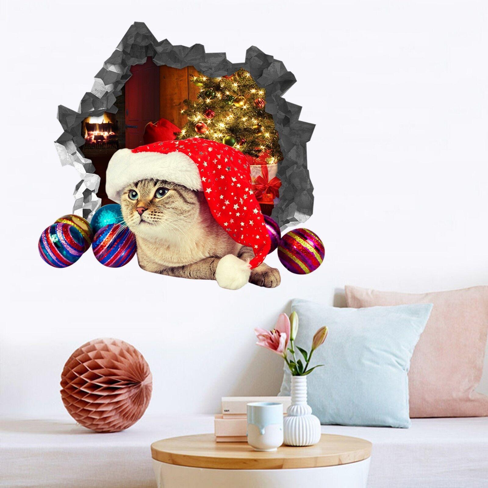 3D Weihnachtskatze Mauer Murals Mauer Aufklebe Decal Durchbruch AJ WALLPAPER DE