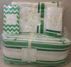 4P Pottery Barn Kids Baby Boys SOHO Crib Nursery Quilt Bumper Sheet Set