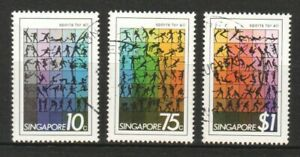 SINGAPORE 1981 SPORTS FOR ALL COMP. SET OF 3 STAMPS SC#375-377 IN FINE USED