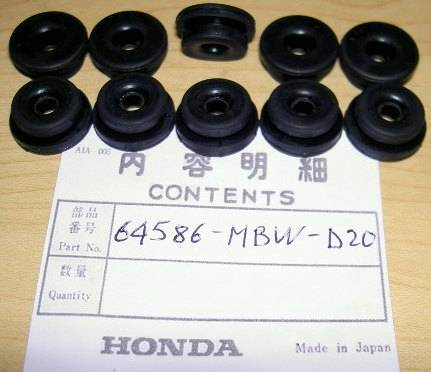 Honda CBR600 ST1300 VFR1200 10-pack rubber side cover grommets 64586-MBW-D20   M