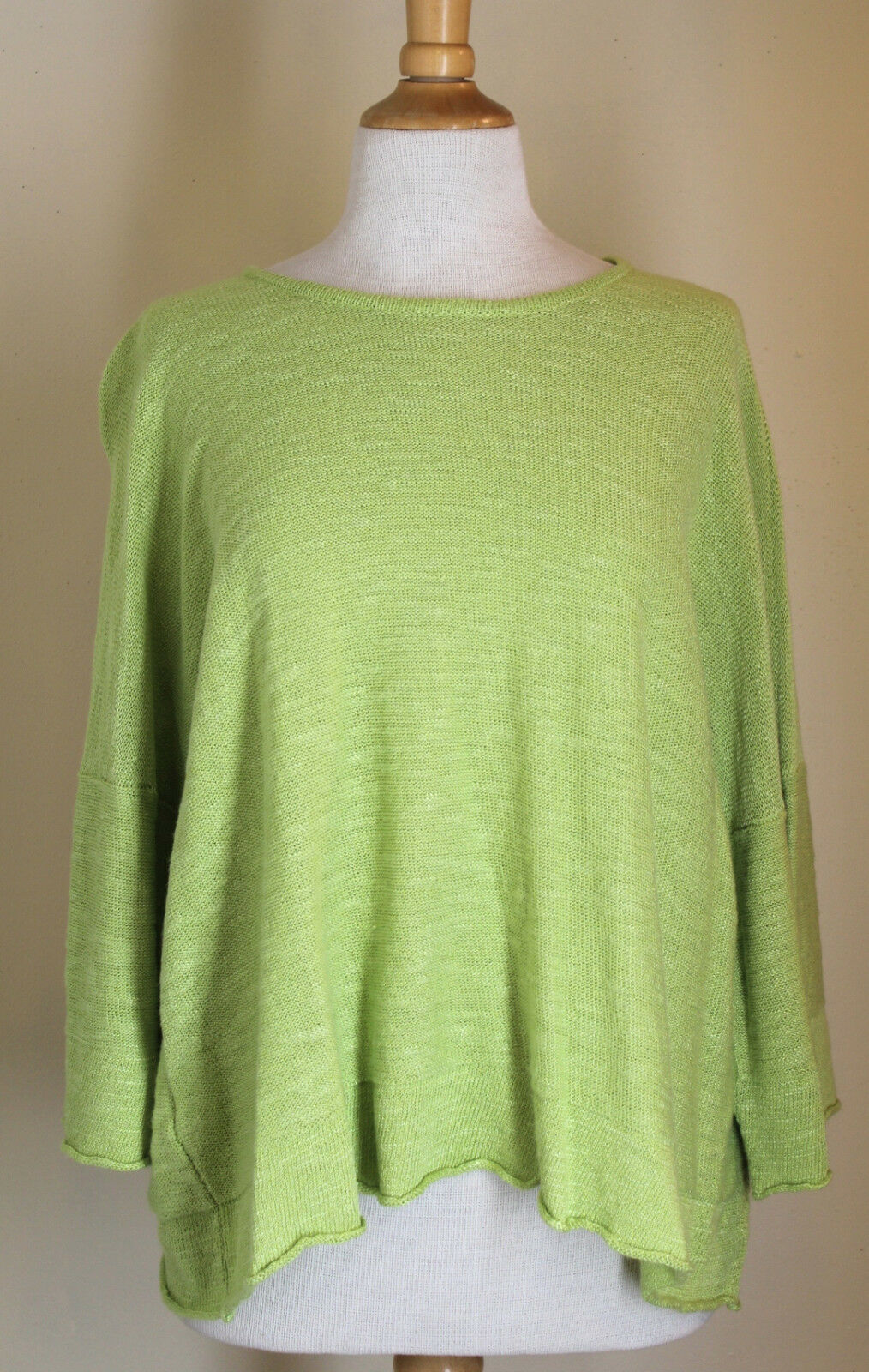 NEW Eskandar Citrus Citrus Citrus Lime Green Hand Loomed Linen Blend 3 4 Sleeve Sweater Sz OS 44e24f