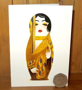 Gustav-KLIMT-MATRYOSHKA-GREETING-BIRTHDAY-CARD-Nesting-Russian-DOLL-Artist-made