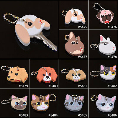 1 Pc Silicone Key Ring Cap Head Cover Keychain Case Shell Animals Shape Lovely