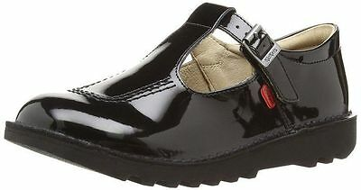 Kickers SD Kick T Patent (1-12533) Black School Shoes for Girls Kids All Sizes