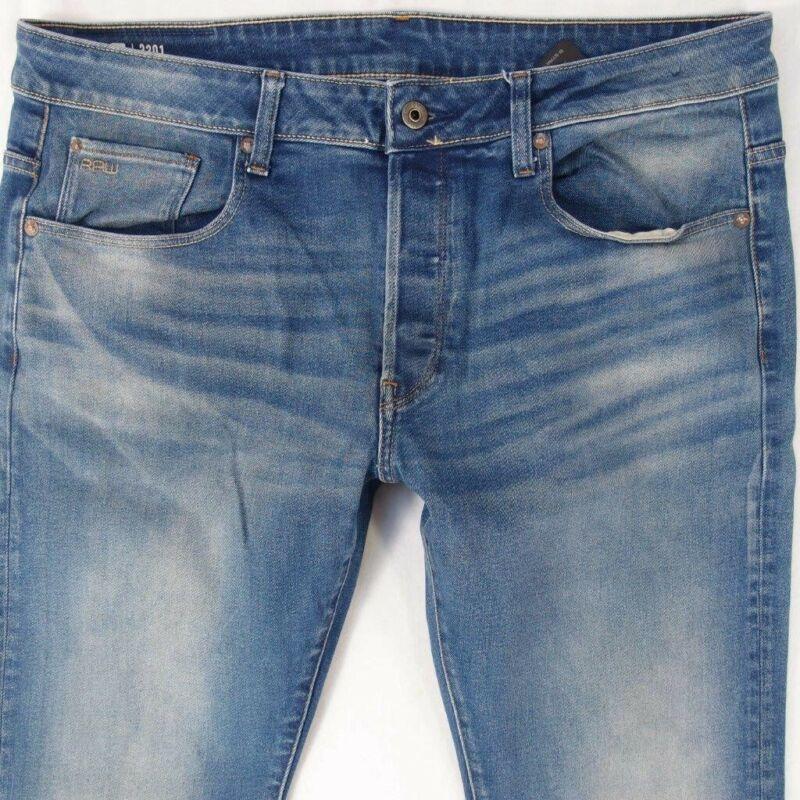 Herren G-star 3301 Slim Stretch Schmales Bein Blau Jeans W36 L34 Attraktives Aussehen