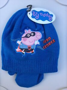 5026c9dbce5 Boys Light Blue Beanie Hat   Mittens with Peppa Pig Hero George. 2-4 ...