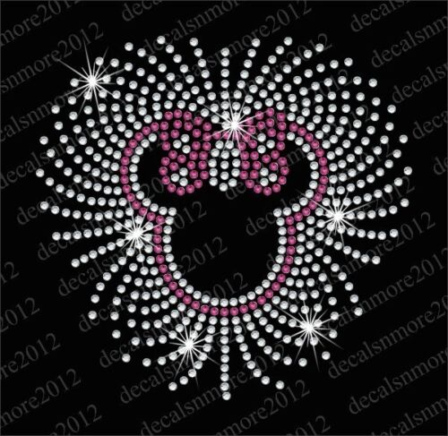 """Minnie Mouse"" CUTE Bling Ironon Rhinestone Transfer Decal"