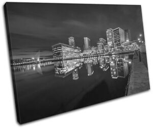 Manchester-Riverside-Salford-Quays-City-SINGLE-CANVAS-WALL-ART-Picture-Print