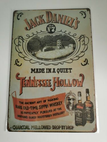 JACK DANIELS MADE IN A QUITE TENNESSEE  HOLLOW TIN SIGN NEW