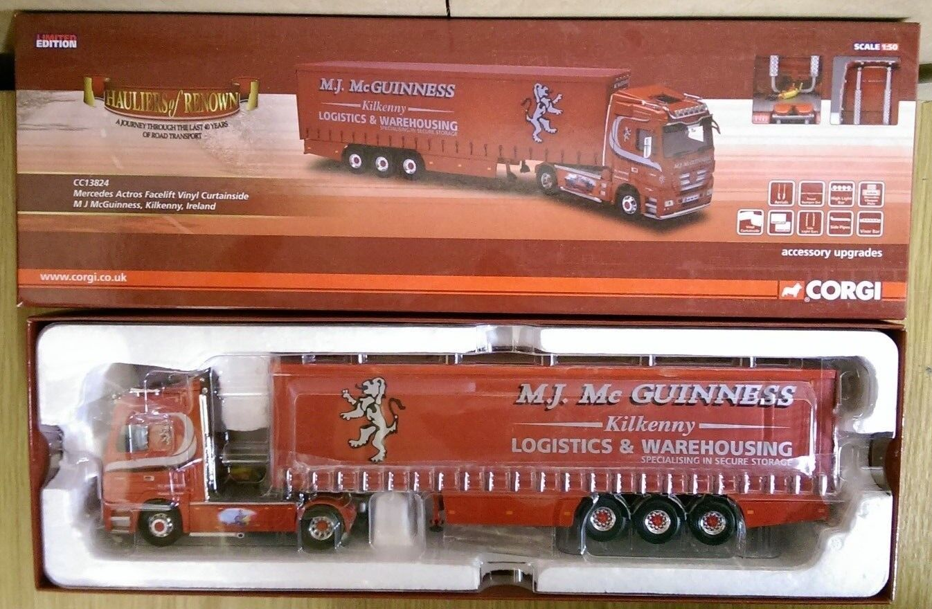 CORGI CC13824 Mercedes Actros Vinyl Curtainside McGuinness LTD ED. 0001 de 1000