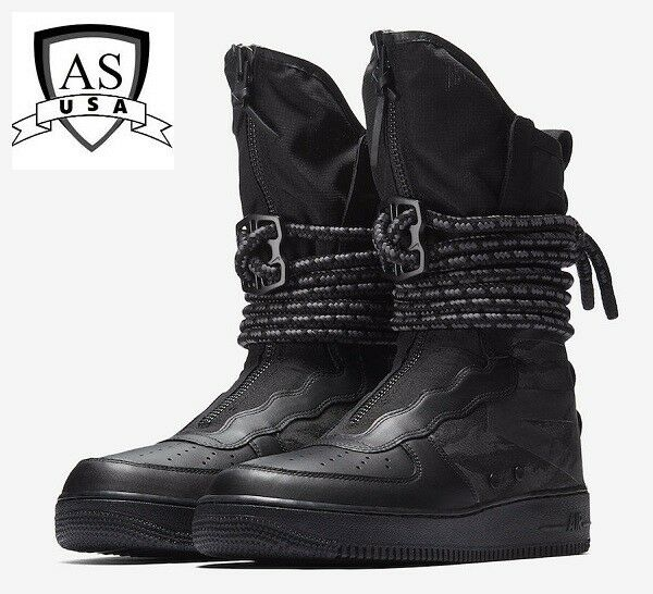 outlet store 7d784 4d746 Men's NIKE AIR FORCE 1 SF AF1 HI BOOTS SPECIAL FIELD BLACK GREY AA1128 002  Sz 8