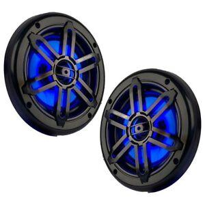 Pair Power Acoustik MFL-65WB 6.5″ Waterproof Marine Blue LED Coaxial Speakers