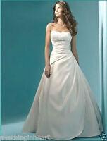 Stock New White/Ivory satin Wedding dress Bridal gown Size 6 8 10 12 14 16 18