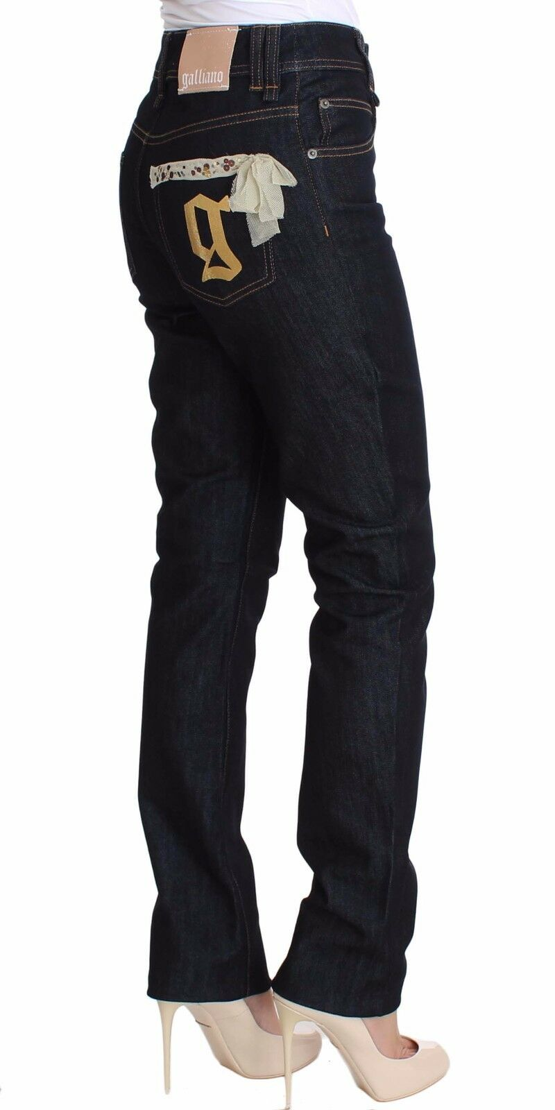 NWT JOHN GALLIANO Jeans bluee Regular Fit Sequined Cotton Denim W26   IT40