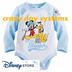 NEW-Disney-Store-Mickey-Mouse-Pluto-Little-Slugger-Bodysuit-12-18-M-Baby-Boy