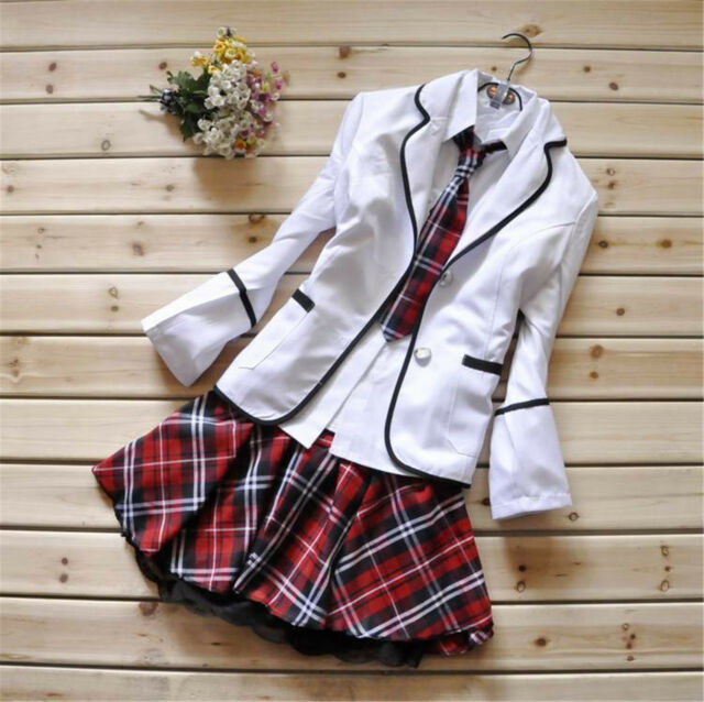 Japanese School Girl Uniform Cosplay Costume Black Red Tartan Dress Surcoat