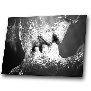 Black White Grey Kiss People Abstract Canvas Wall Art Cool Picture Print