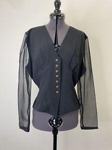 Vintage Cue Black Blouse Size 10 Sheer Sleeve 90s VGUC