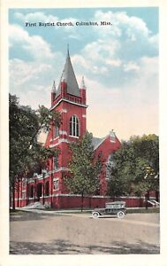 D91-Columbus-Mississippi-Postcard-c1910-First-Baptist-Church-Building