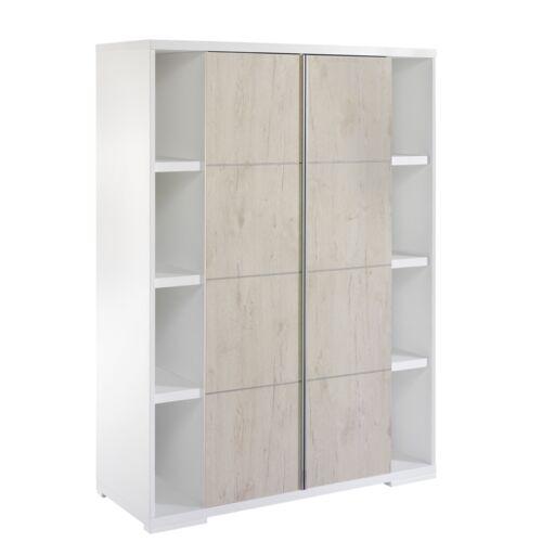 Schardt Kleiderschrank mit 2 Türen und 2 Seitenregalen Maximo weiß NEU