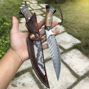 DAMASCUS-SURVIVAL-OUTDOOR-CAMPING-HUNTING-KNIFE-FIXED-BLADE-W-SHEATH-EBONY-WOOD