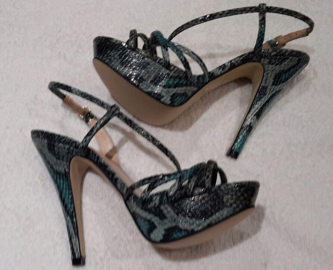 NEU    L.K. Bennett  snakeskin strappy Sandalee with high heel & platform   Größe 4
