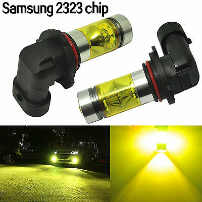 2x 4300K Yellow 9006 HB4 Fog Light Samsung 2323 LED 100W Driving Projector Bulb