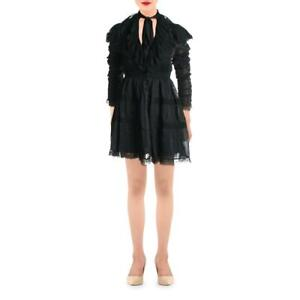 Beulah Womens Black Lace Trim Ruffled Tie Neck Mini Dress S BHFO 7770