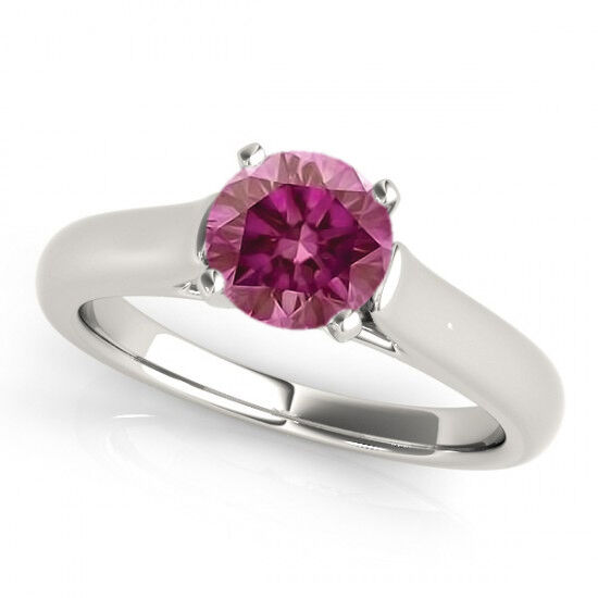 0.35 Carat Fancy Pink RD VS2 Solitaire Ring 14k WG Valentine Day Spl.Sale