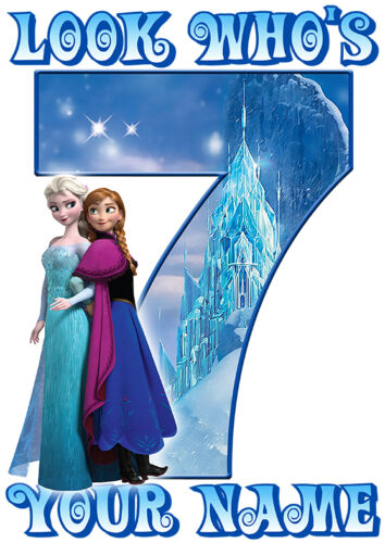 Frozen Sisters Personalised Birthday Number Age Iron On Transfers A4 A5 A6