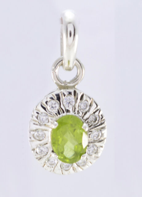 ideal Peridot 925 Sterling Silver Green Pendant Natural indian US gift