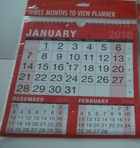 2018 hanging wall calendar 3 months to view planner easy view
