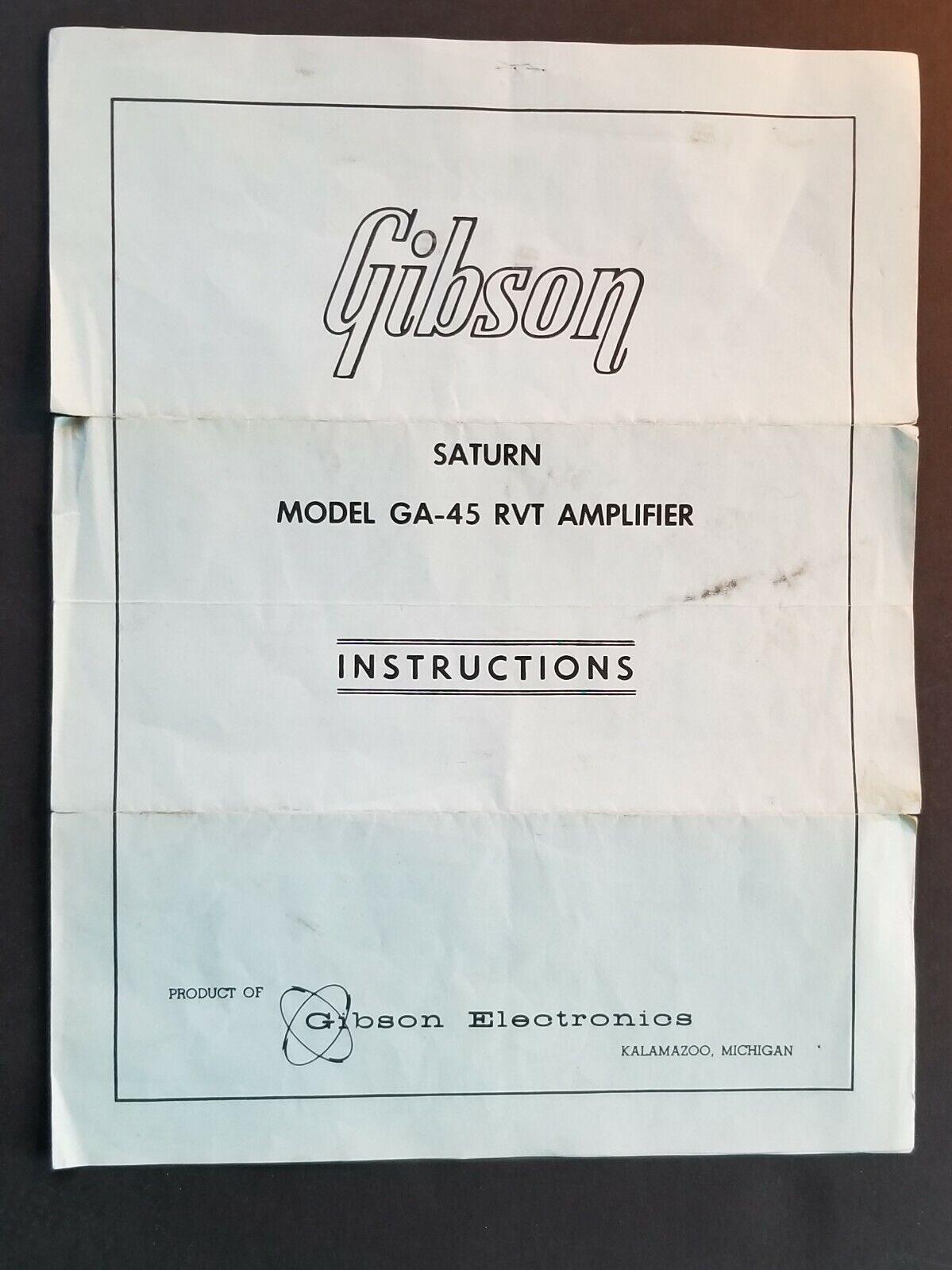 Original Vintage 1960s, 1960s, 1960s, 1965, 1966 Gibson Saturn GA-45 RVT Amp instrucciones 894f07